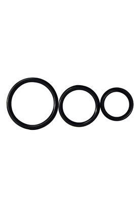 Control Rings - Black, Set of 3 Cock Rings.