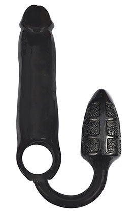 Rooster Xxxpander, Double Textured - Black, Double Textured Sex Enhancer.