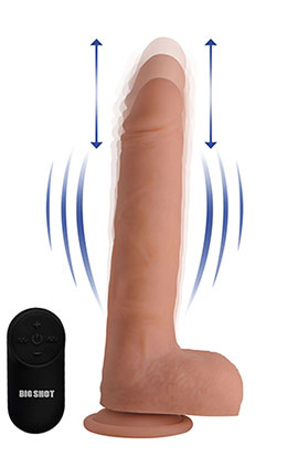 "Big Shot Thrusting Dildo 9"" - Light, 9 Inch Light Vibrating Dildo With Suction Cup."