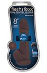 "Fleshstixxx 8"" Silicone Dildo With Ball Chocolate, 8 Inch Chocolate Silicone Dildo with Balls and Suction Cup."